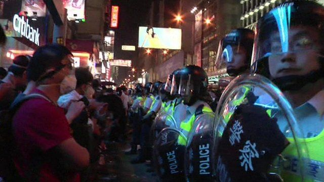 Pro-democracy protestors in Hong Kong have regrouped in an area that was previously cleared by police