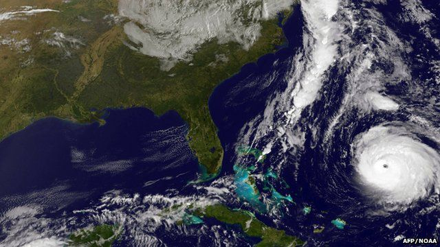 """This NOAA image of Hurricane Gonzalo, obtained October 17, 2014 was taken by NOAA""""s GOES-East satellite off the US East Coast on October 16 at 13:07 UTC (9:07 a.m. EDT)."""