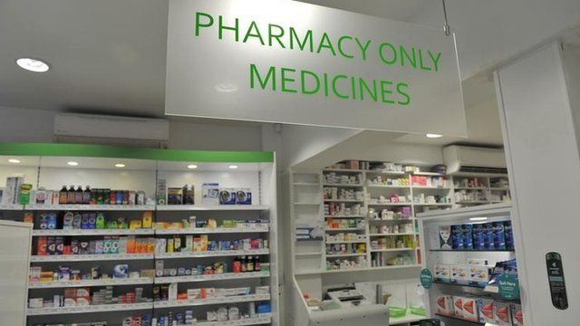 A pharmacy counter