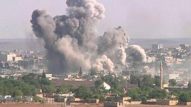 Explosion above Kobane