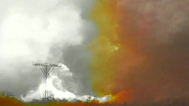Explosion at a chemical plant in Donetsk in eastern Ukraine.