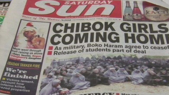"Nigerian newspaper with headline ""Chibok girls coming home"""