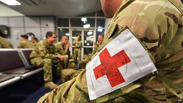 MoD handout photo of Catterick-based 35 Squadron from 5 Medical Regiment before they departed from RAF Brize Norton, Oxfordshire, as part of the army's support to the UK's response to the Ebola outbreak