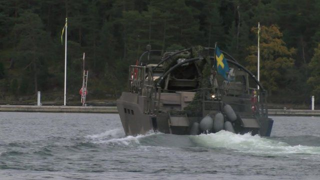 A Swedish boat searching the sea