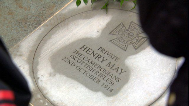 Memorial stone to Pte Henry May
