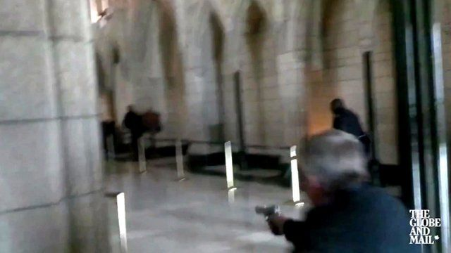 Toronto Globe and Mail footage shows firing of shots inside the Canadian parliament building