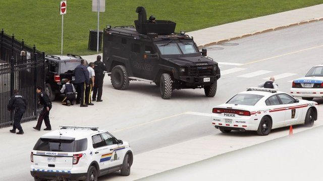 Police officers near Parliament Hill