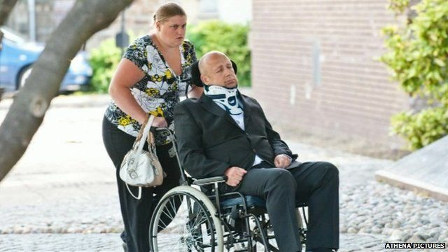Alan Knight arriving at Swansea Crown Court on Tuesday with his wife Helen