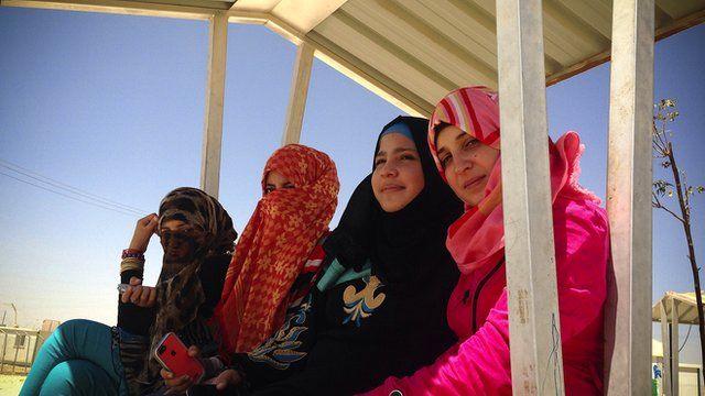 Syrian girls in the Za'atari refugee camp in Jordan