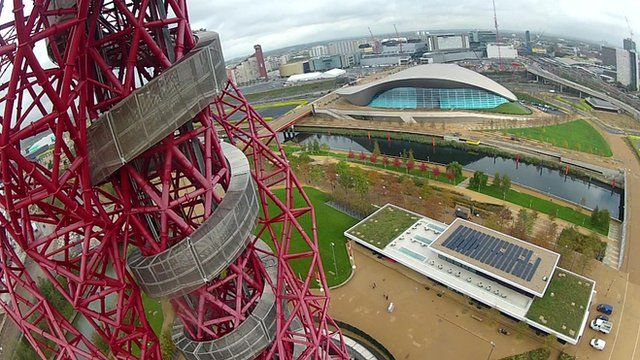 View from Orbit tower as you abseil down it