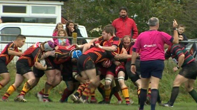 A scrum at the Dylan Rees rugby match