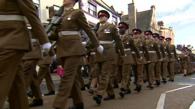 39th Regiment Royal Artillery marches through Hexham