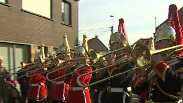 The Royal Welsh Fusiliers marching