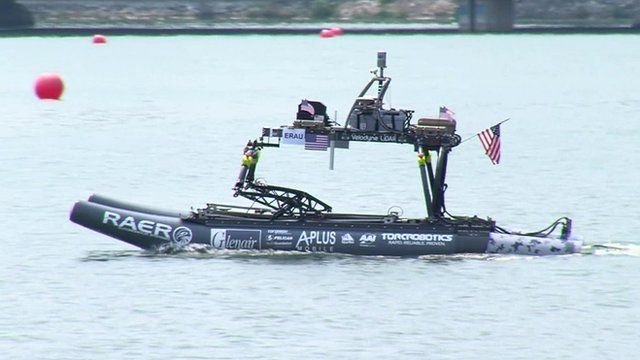 Unmanned boat in water during aquatic robot competition in Singapore