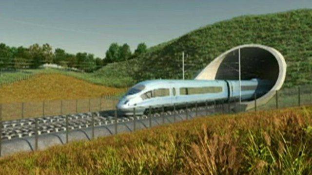 Train on proposed new line - CGI