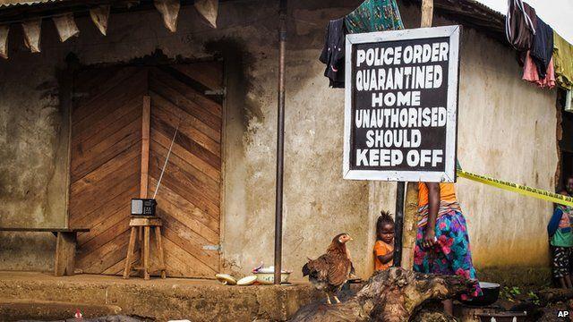 A quarantined home in Sierra Leone