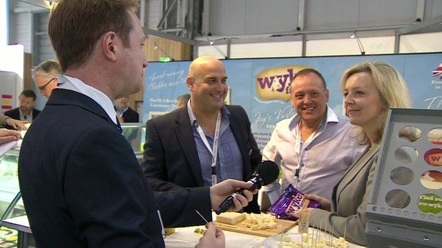 Reporter Adam Fleming at Sial food expo in Paris with British food producers and Elizabeth Truss