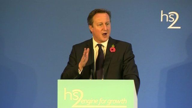 David Cameron speaking about HS3