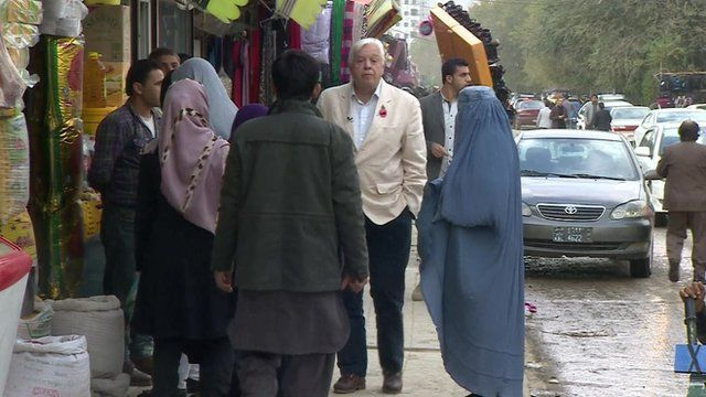 John Simpson on a street in Kabul