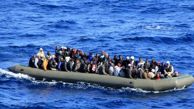 African migrants in a rubber boat off the coast of Italy