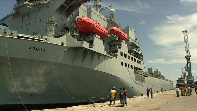 RFA Argus docked in Sierra Leone