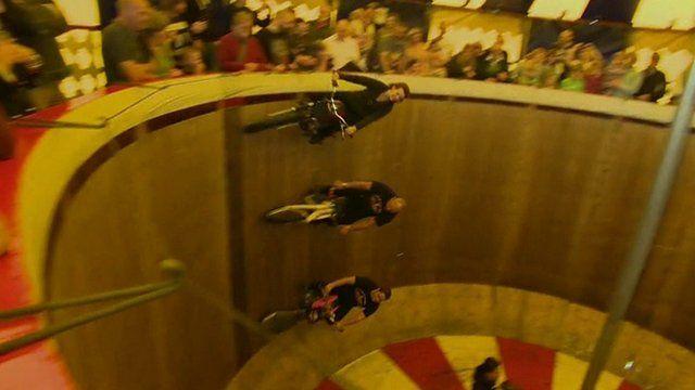 Three bikes on Wall of Death