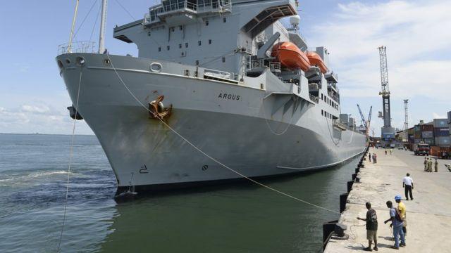 British ship RFA Argus supplying aid to Ebola-hit Sierra Leone