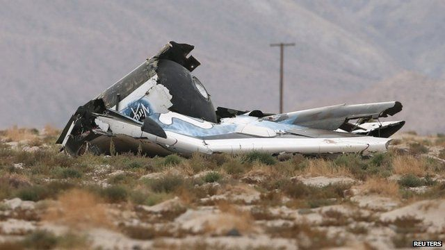"""A piece of debris is seen near the scene of the crash of Virgin Galactic""""s SpaceShipTwo near Cantil"""