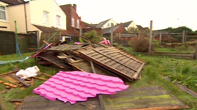 Residents said the high winds hit the town of Coalville early on Sunday morning