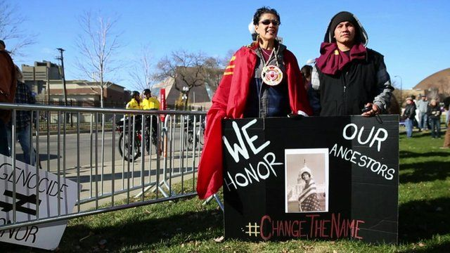 Protesters at a Washington Redskins game