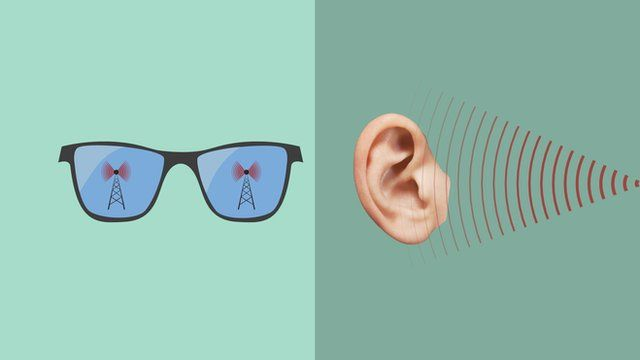 Illustration of glasses and ear receiving radio waves