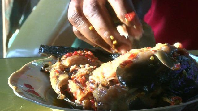 Plate of food at African market