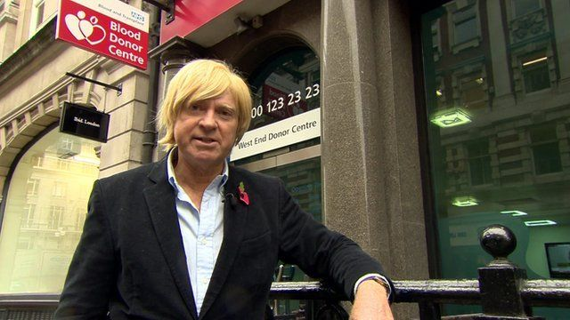 Michael Fabricant outside Blood Donor Centre