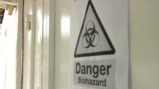 Hazard sign at Ebola treatment centre