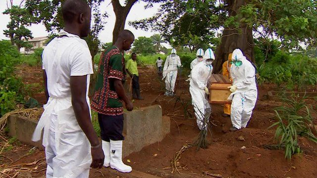 A victim of Ebola is buried in Sierra Leone
