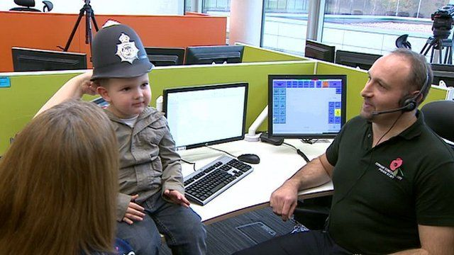 Oliver Embleton, three, meets the police