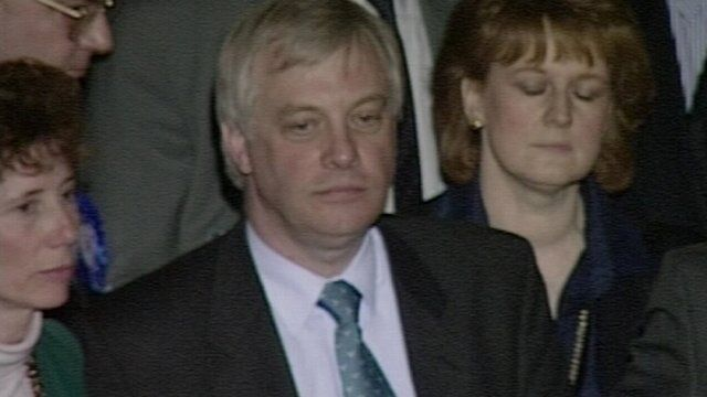 Chris Patten reacts to his defeat in Bath