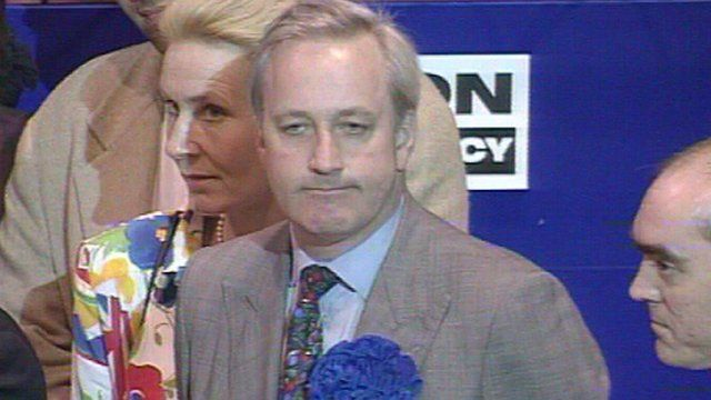Neil Hamilton reacts to his defeat in Tatton