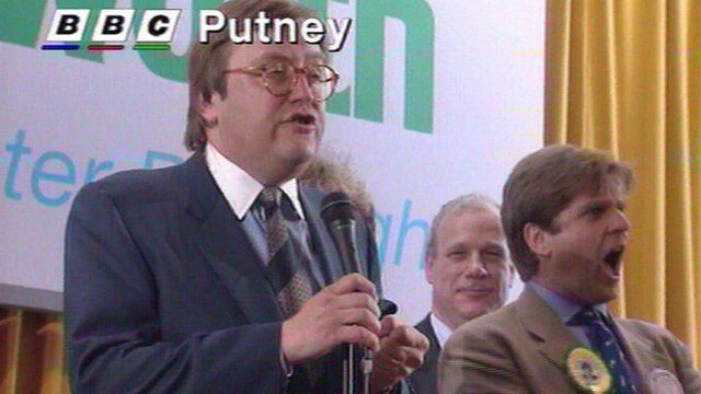 David Mellor gives his concession speech after electoral defeat in Putney