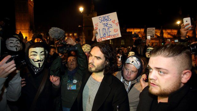 Russell Brand on the march in central London