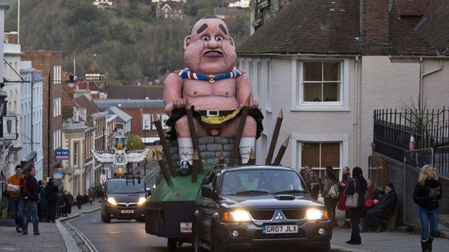An effigy Alex Salmond is paraded through Lewes