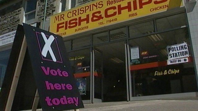 A fish and chip shop in Bristol became a polling station for the 2001 general election
