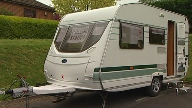 This towing caravan has a unique feature - you can vote in it!