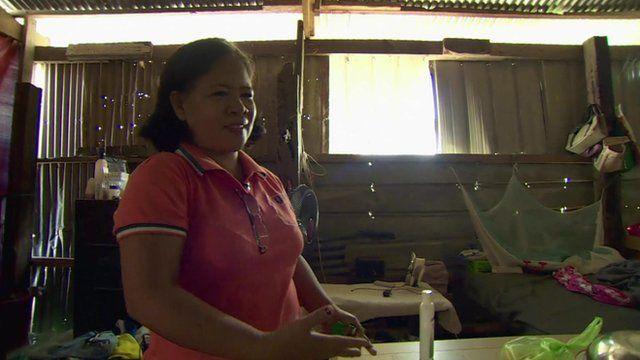 Jovita Mantua in temporary shelter