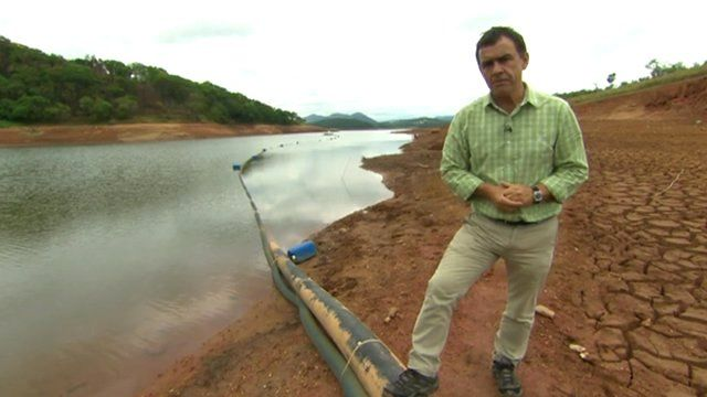 Wyre Davies in drought hit lake near Sao Paolo