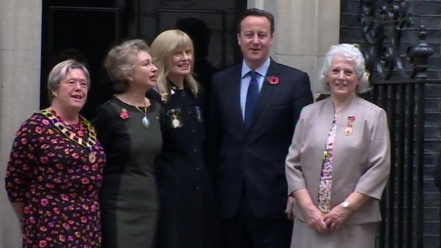 David Cameron with members of the War Widows' Association at Downing Street