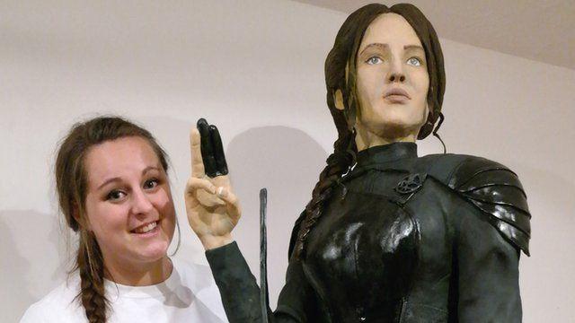 Lara Clarke with her Gold award winning creation of Hunger Games star Jennifer Lawrence