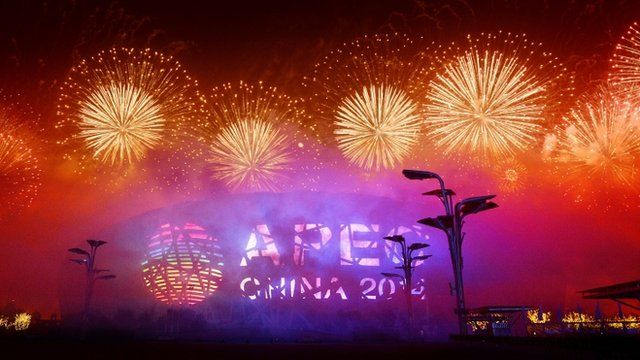 fireworks show takes place during the Asia-Pacific Economic Cooperation (APEC) summit in Beijing