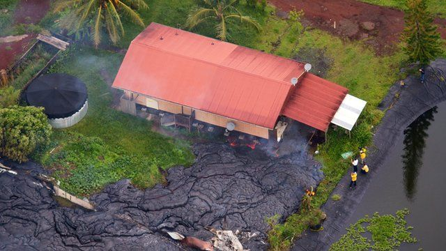 A house consumed by lava