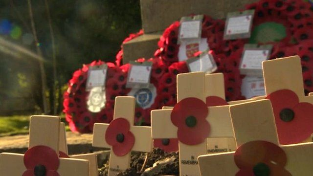 Poppies and crosses around memorial in Eastbourne